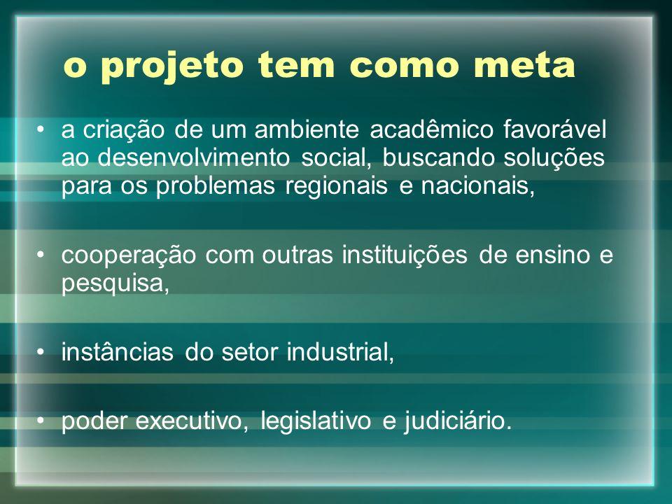 o projeto tem como meta a criação de um ambiente acadêmico favorável ao desenvolvimento social, buscando soluções para os problemas regionais e nacion