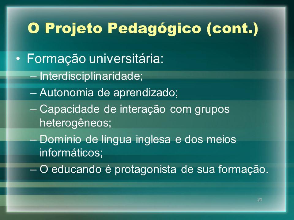 21 O Projeto Pedagógico (cont.) Formação universitária: –Interdisciplinaridade; –Autonomia de aprendizado; –Capacidade de interação com grupos heterog