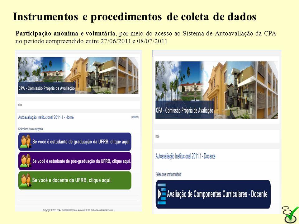 Instrumentos e procedimentos de coleta de dados Instruções