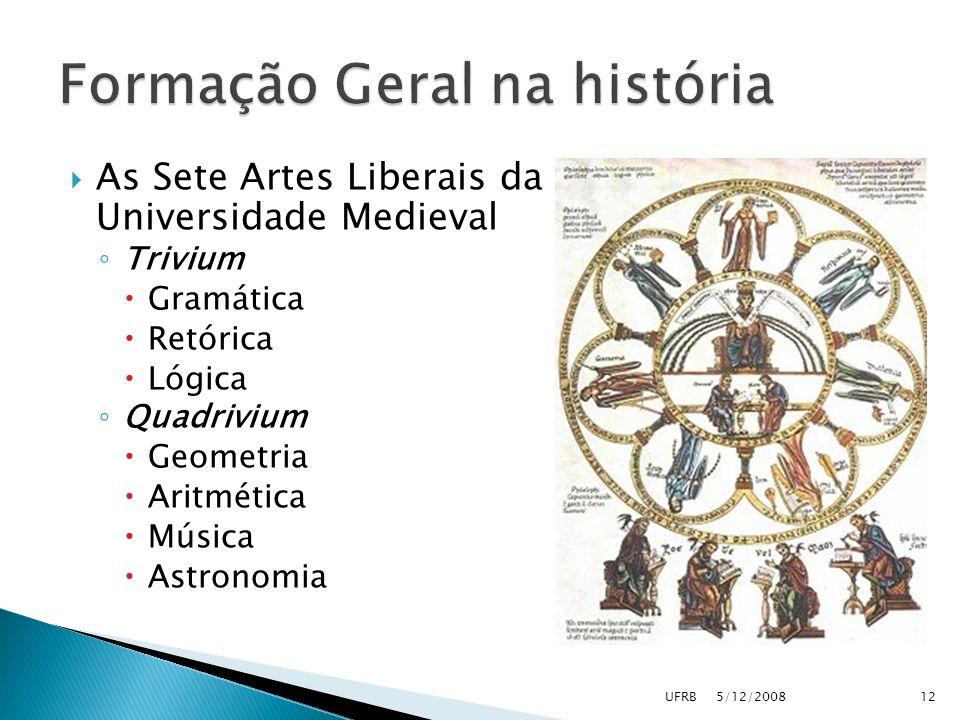 As Sete Artes Liberais da Universidade Medieval Trivium Gramática Retórica Lógica Quadrivium Geometria Aritmética Música Astronomia 125/12/2008UFRB