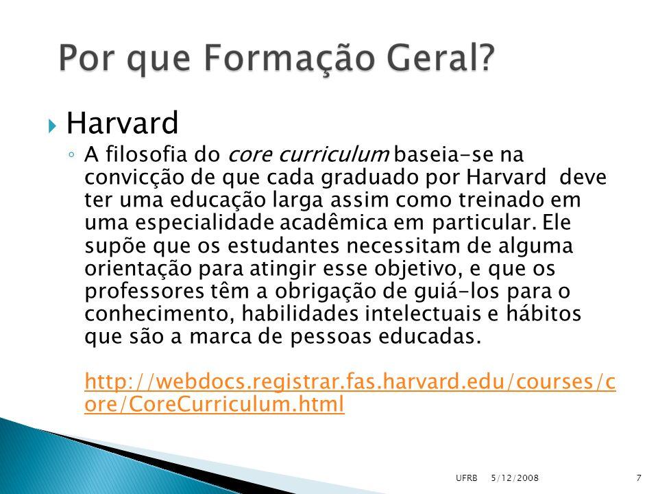 Harvard A filosofia do core curriculum baseia-se na convicção de que cada graduado por Harvard deve ter uma educação larga assim como treinado em uma