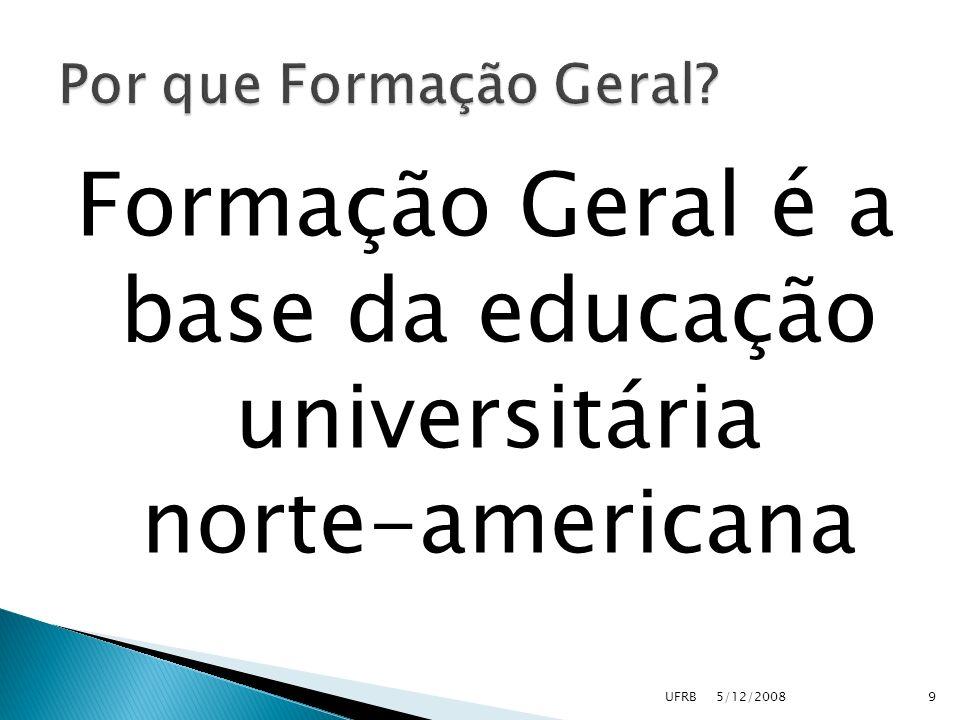 Formação Geral é a base da educação universitária norte-americana 5/12/2008UFRB9