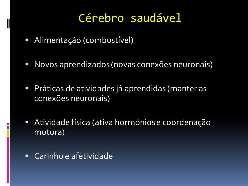 Cérebro saudável Alimentação (combustível) Novos aprendizados (novas conexões neuronais) Práticas de atividades já aprendidas (manter as conexões neur