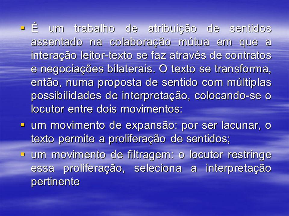É um trabalho de atribuição de sentidos assentado na colaboração mútua em que a interação leitor-texto se faz através de contratos e negociações bilaterais.