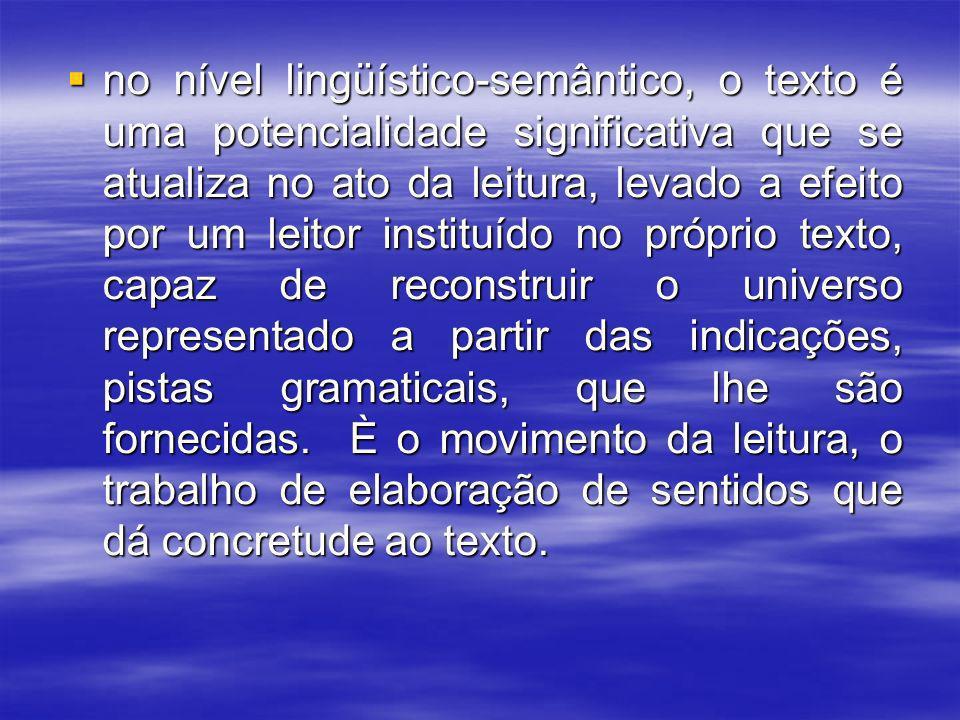 O texto, na sua superfície lingüística, não diz tudo objetivamente.