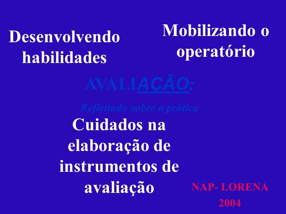 Mobilizando o operatório NAP- LORENA 2004 Desenvolvendo habilidades Cuidados na elaboração de instrumentos de avaliação AVALI AÇÃO : Refletindo sobre