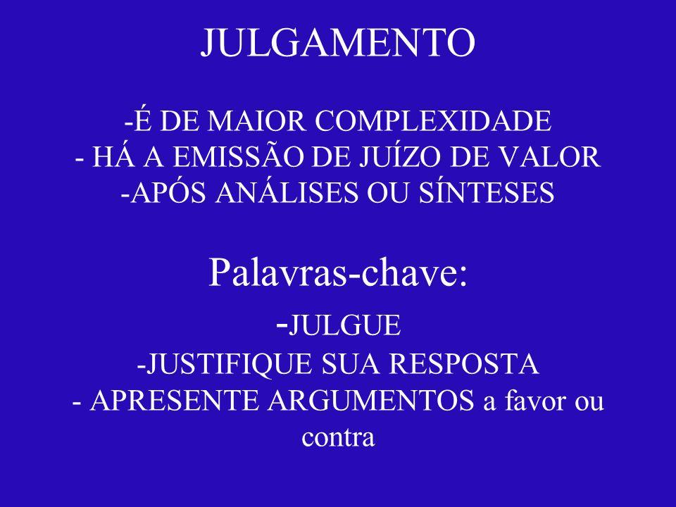 JULGAMENTO -É DE MAIOR COMPLEXIDADE - HÁ A EMISSÃO DE JUÍZO DE VALOR -APÓS ANÁLISES OU SÍNTESES Palavras-chave: - JULGUE -JUSTIFIQUE SUA RESPOSTA - AP