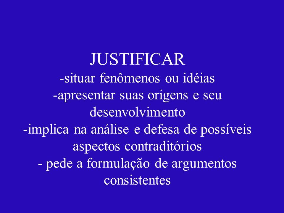 JUSTIFICAR -situar fenômenos ou idéias -apresentar suas origens e seu desenvolvimento -implica na análise e defesa de possíveis aspectos contraditório