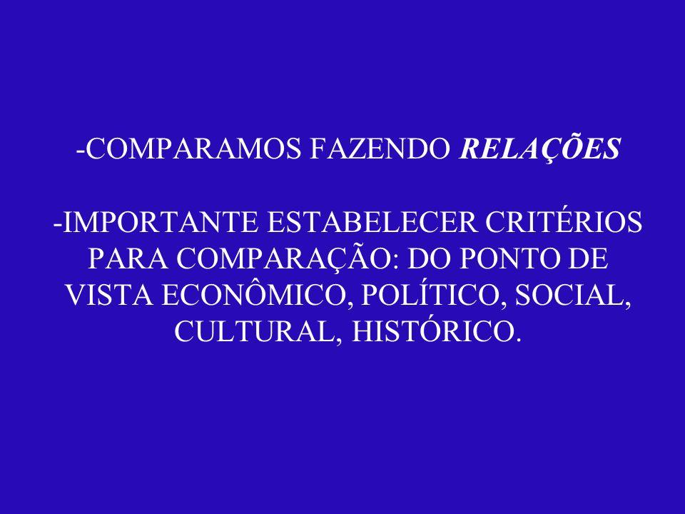 -COMPARAMOS FAZENDO RELAÇÕES -IMPORTANTE ESTABELECER CRITÉRIOS PARA COMPARAÇÃO: DO PONTO DE VISTA ECONÔMICO, POLÍTICO, SOCIAL, CULTURAL, HISTÓRICO.