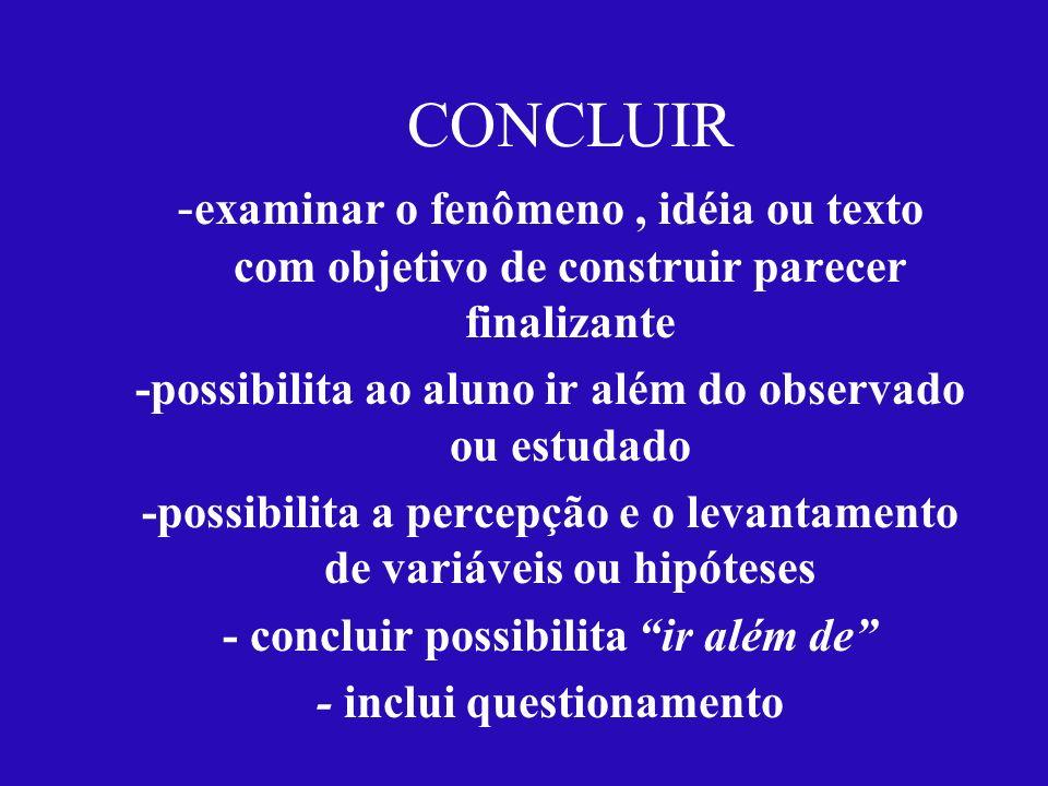 CONCLUIR - examinar o fenômeno, idéia ou texto com objetivo de construir parecer finalizante -possibilita ao aluno ir além do observado ou estudado -p