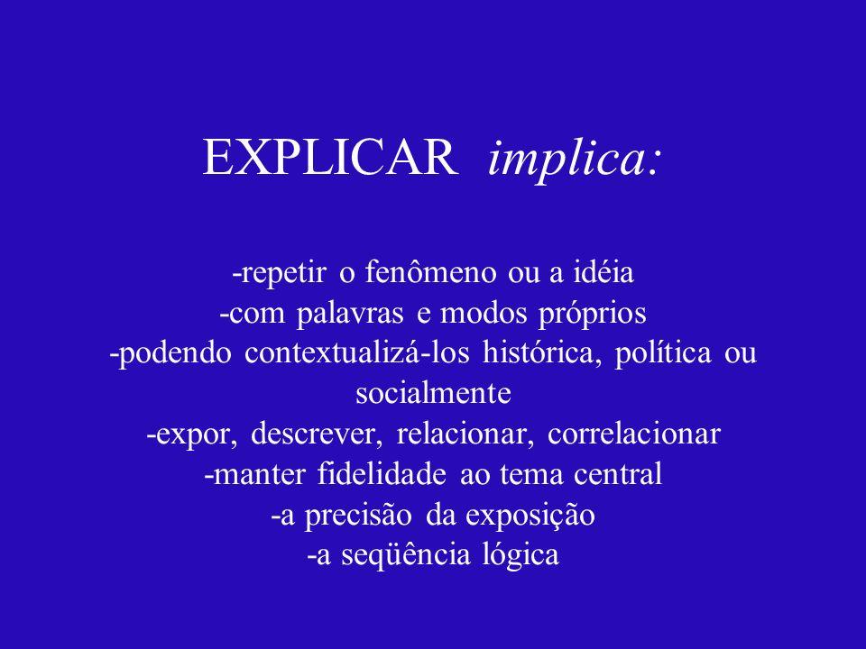 EXPLICAR implica: -repetir o fenômeno ou a idéia -com palavras e modos próprios -podendo contextualizá-los histórica, política ou socialmente -expor,