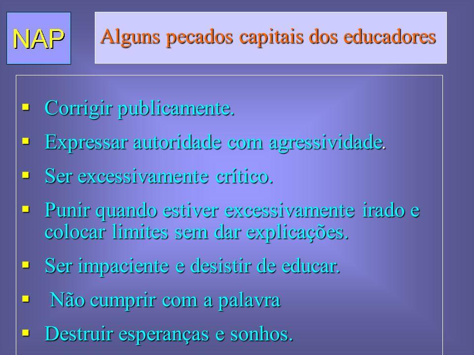 Alguns pecados capitais dos educadores Corrigir publicamente. Corrigir publicamente. Expressar autoridade com agressividade. Expressar autoridade com