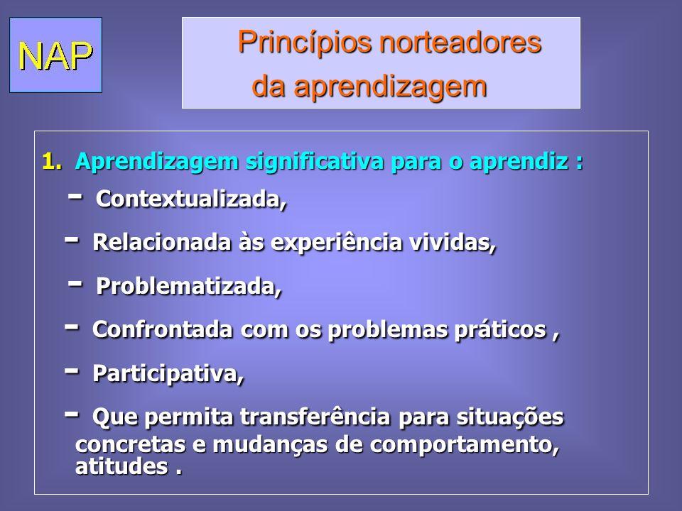 Princípios norteadores Princípios norteadores da aprendizagem da aprendizagem 1.Aprendizagem significativa para o aprendiz : - Contextualizada, - Cont
