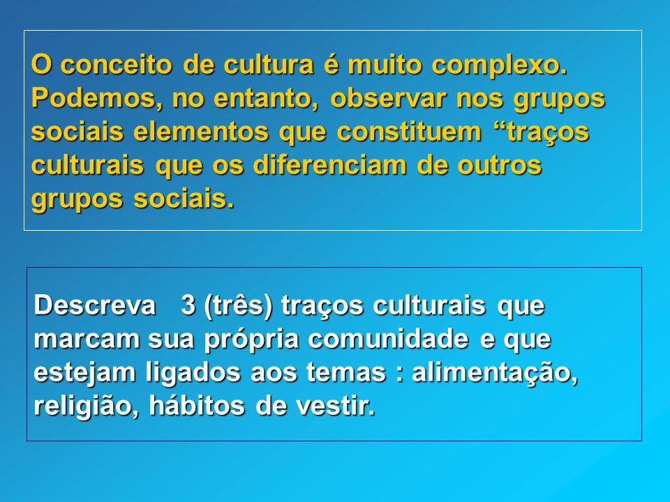 O conceito de cultura é muito complexo. Podemos, no entanto, observar nos grupos sociais elementos que constituem traços culturais que os diferenciam