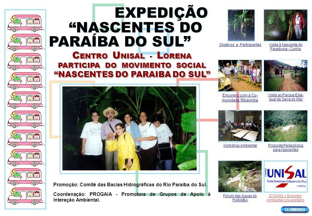 C ENTRO U NISAL - L ORENA PARTICIPA DO MOVIMENTO SOCIAL NASCENTES DO PARAIBA DO SUL C ENTRO U NISAL - L ORENA PARTICIPA DO MOVIMENTO SOCIAL NASCENTES DO PARAIBA DO SUL 21 e 22 de MAIO - Dia Mundial da ÁGUA CUNHA / SP 21 e 22 de MAIO - Dia Mundial da ÁGUA CUNHA / SP Visita Nascente...