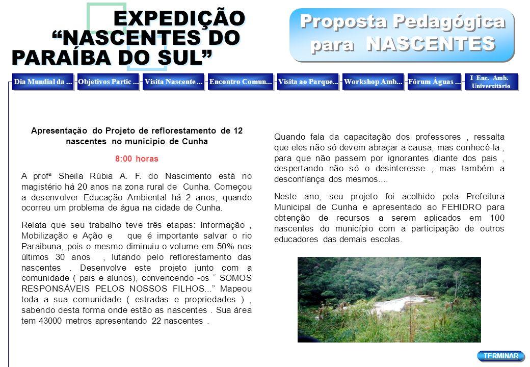 Proposta Pedagógica para NASCENTES Proposta Pedagógica para NASCENTES Apresentação do Projeto de reflorestamento de 12 nascentes no município de Cunha