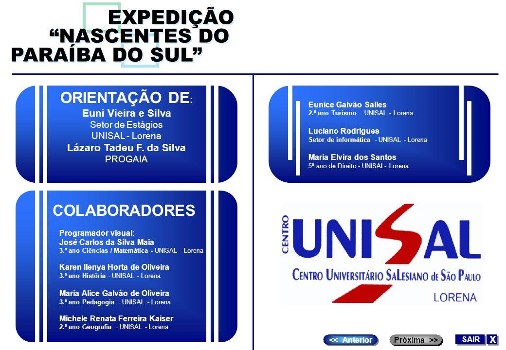 ORIENTAÇÃO DE : Euni Vieira e Silva Setor de Estágios UNISAL - Lorena Lázaro Tadeu F. da Silva PROGAIA EXPEDIÇÃO NASCENTES DO PARAÍBA DO SUL EXPEDIÇÃO