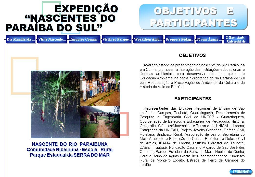 NASCENTE DO RIO PARAIBUNA Comunidade Ribeirinha - Escola Rural Parque Estadual da SERRA DO MAR NASCENTE DO RIO PARAIBUNA Comunidade Ribeirinha - Escol