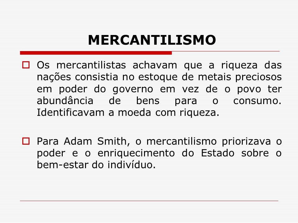 MERCANTILISMO Os mercantilistas achavam que a riqueza das nações consistia no estoque de metais preciosos em poder do governo em vez de o povo ter abu