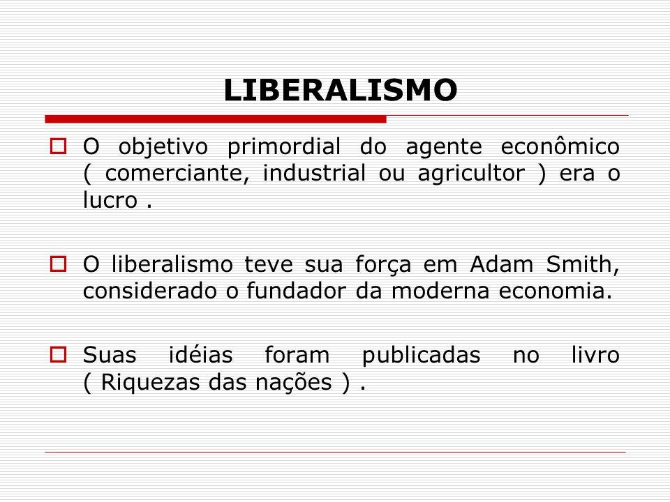 LIBERALISMO O objetivo primordial do agente econômico ( comerciante, industrial ou agricultor ) era o lucro. O liberalismo teve sua força em Adam Smit