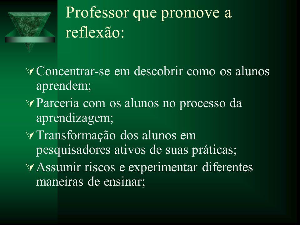 Professor que promove a reflexão: Concentrar-se em descobrir como os alunos aprendem; Parceria com os alunos no processo da aprendizagem; Transformaçã