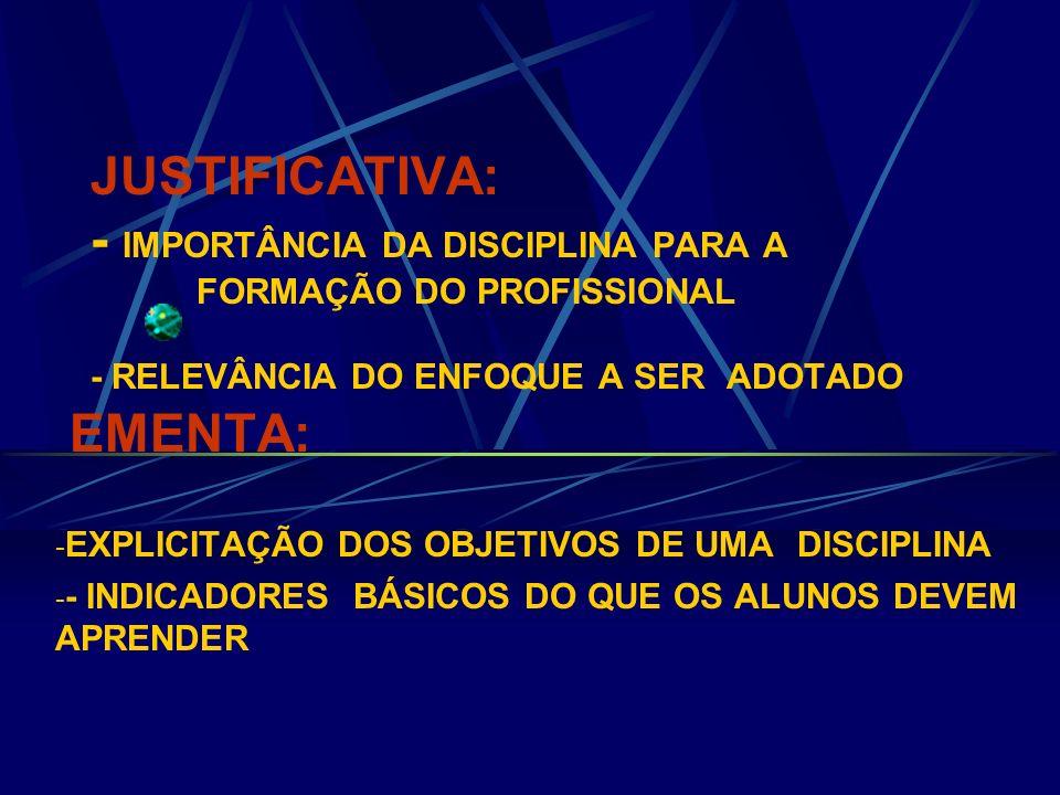 JUSTIFICATIVA: - IMPORTÂNCIA DA DISCIPLINA PARA A FORMAÇÃO DO PROFISSIONAL - RELEVÂNCIA DO ENFOQUE A SER ADOTADO EMENTA: - EXPLICITAÇÃO DOS OBJETIVOS