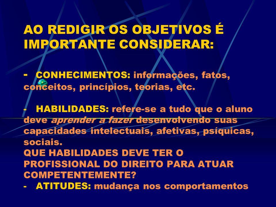 AO REDIGIR OS OBJETIVOS É IMPORTANTE CONSIDERAR: - CONHECIMENTOS: informações, fatos, conceitos, princípios, teorias, etc. - HABILIDADES: refere-se a