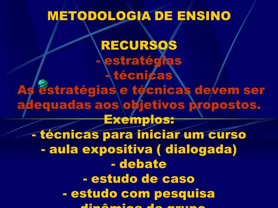 METODOLOGIA DE ENSINO RECURSOS - estratégias - técnicas As estratégias e técnicas devem ser adequadas aos objetivos propostos. Exemplos: - técnicas pa