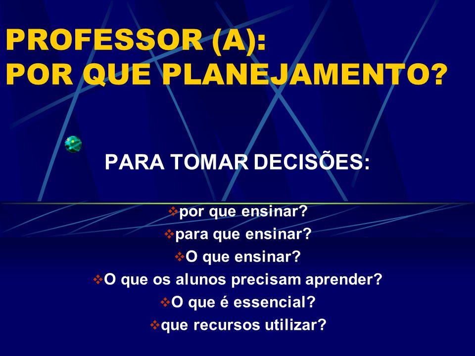 PROFESSOR (A): POR QUE PLANEJAMENTO? PARA TOMAR DECISÕES: por que ensinar? para que ensinar? O que ensinar? O que os alunos precisam aprender? O que é
