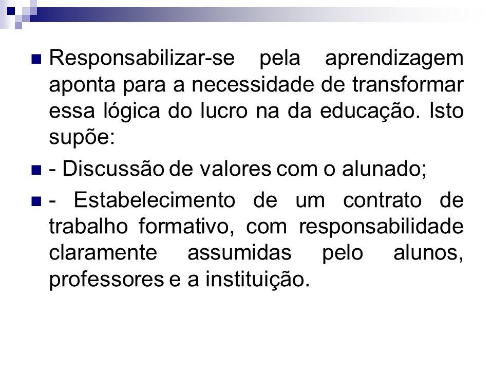 Responsabilizar-se pela aprendizagem aponta para a necessidade de transformar essa lógica do lucro na da educação.