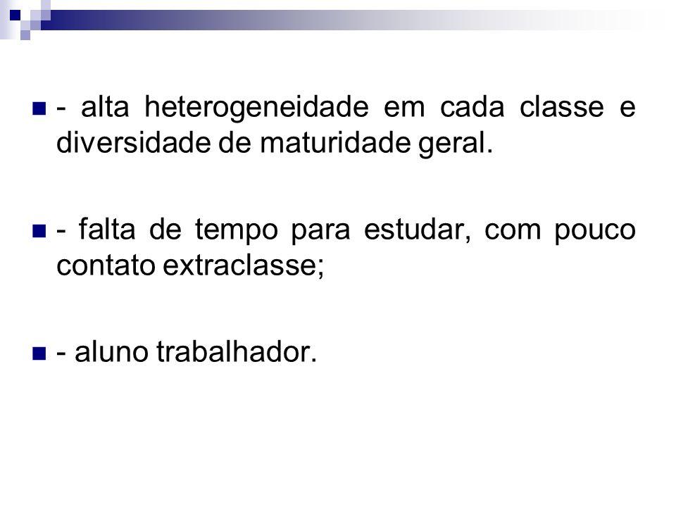 - alta heterogeneidade em cada classe e diversidade de maturidade geral.