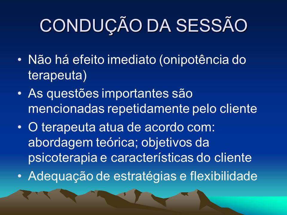 CONDUÇÃO DA SESSÃO Não há efeito imediato (onipotência do terapeuta) As questões importantes são mencionadas repetidamente pelo cliente O terapeuta at