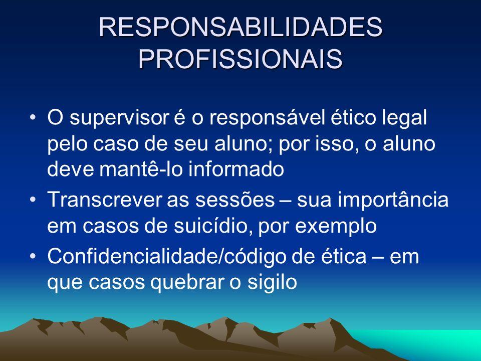 RESPONSABILIDADES PROFISSIONAIS O supervisor é o responsável ético legal pelo caso de seu aluno; por isso, o aluno deve mantê-lo informado Transcrever