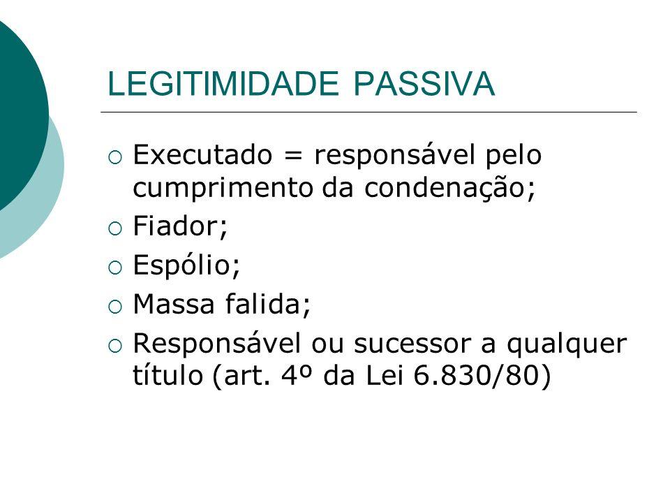 LEGITIMIDADE PASSIVA Executado = responsável pelo cumprimento da condenação; Fiador; Espólio; Massa falida; Responsável ou sucessor a qualquer título