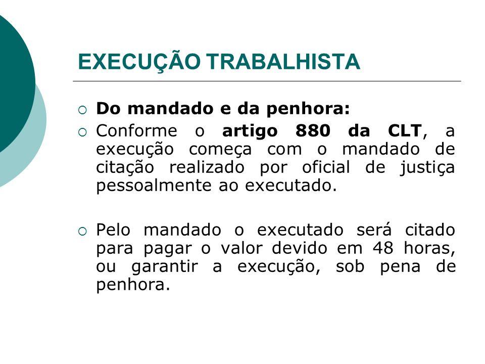 EXECUÇÃO TRABALHISTA Do mandado e da penhora: Conforme o artigo 880 da CLT, a execução começa com o mandado de citação realizado por oficial de justiç