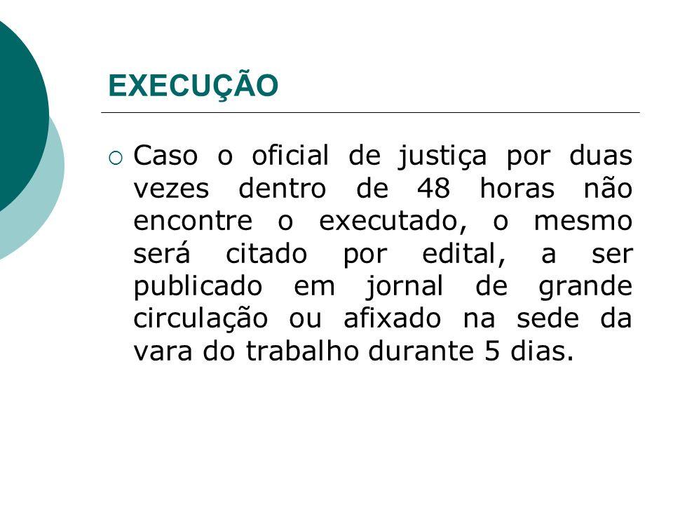 EXECUÇÃO Caso o oficial de justiça por duas vezes dentro de 48 horas não encontre o executado, o mesmo será citado por edital, a ser publicado em jorn