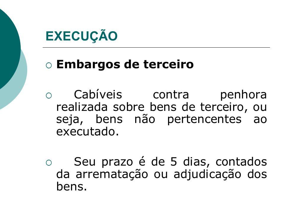 EXECUÇÃO Embargos de terceiro Cabíveis contra penhora realizada sobre bens de terceiro, ou seja, bens não pertencentes ao executado. Seu prazo é de 5