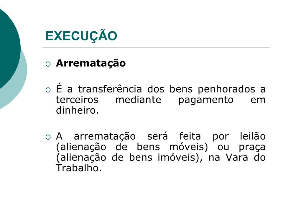 EXECUÇÃO Arrematação É a transferência dos bens penhorados a terceiros mediante pagamento em dinheiro. A arrematação será feita por leilão (alienação