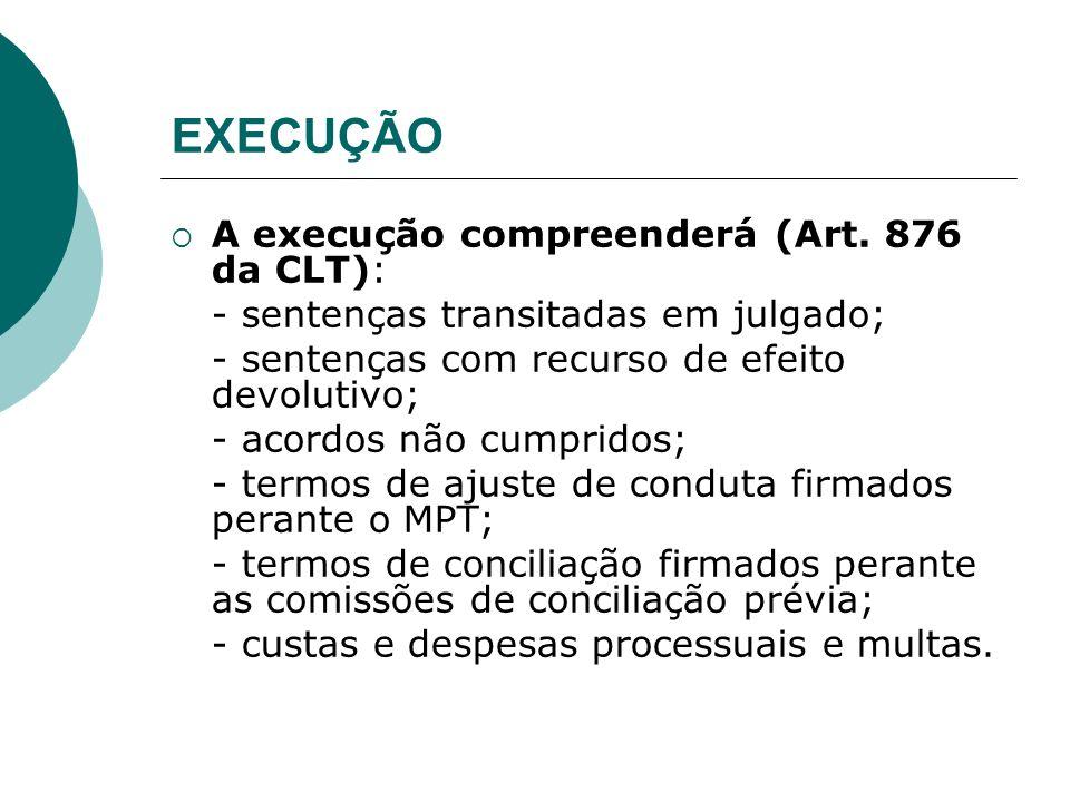 EXECUÇÃO A execução compreenderá (Art. 876 da CLT): - sentenças transitadas em julgado; - sentenças com recurso de efeito devolutivo; - acordos não cu