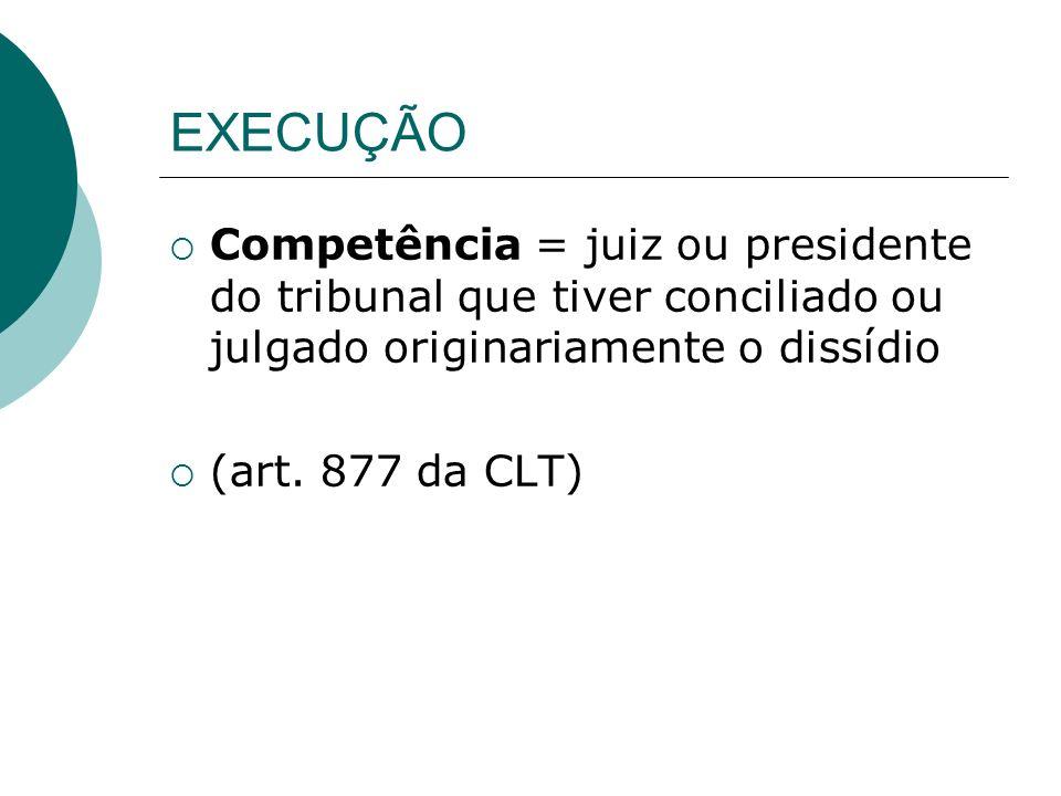 EXECUÇÃO Competência = juiz ou presidente do tribunal que tiver conciliado ou julgado originariamente o dissídio (art. 877 da CLT)