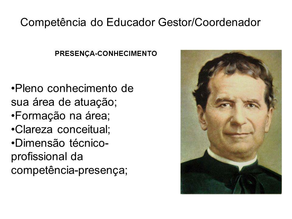 Competência do Educador Gestor/Coordenador PRESENÇA-CONHECIMENTO Pleno conhecimento de sua área de atuação; Formação na área; Clareza conceitual; Dime