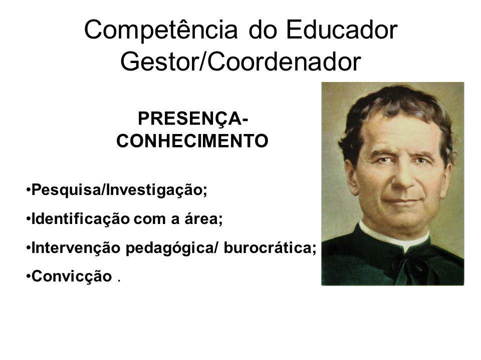 Competência do Educador Gestor/Coordenador PRESENÇA- CONHECIMENTO Pesquisa/Investigação; Identificação com a área; Intervenção pedagógica/ burocrática