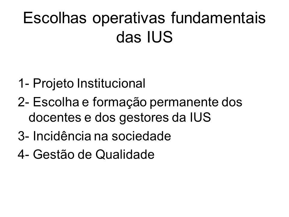 Escolhas operativas fundamentais das IUS 1- Projeto Institucional 2- Escolha e formação permanente dos docentes e dos gestores da IUS 3- Incidência na