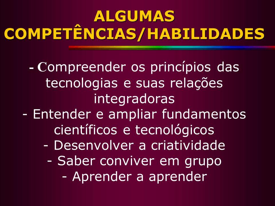 ALGUMAS COMPETÊNCIAS/HABILIDADES ALGUMAS COMPETÊNCIAS/HABILIDADES - C ompreender os princípios das tecnologias e suas relações integradoras - Entender