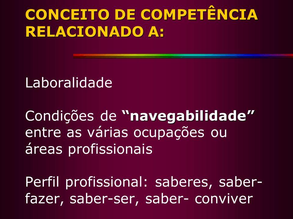 CONCEITO DE COMPETÊNCIA RELACIONADO A: navegabilidade CONCEITO DE COMPETÊNCIA RELACIONADO A: Laboralidade Condições de navegabilidade entre as várias