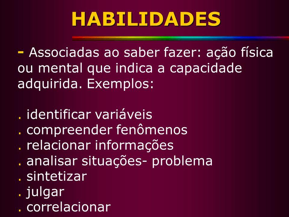 HABILIDADES - - Associadas ao saber fazer: ação física ou mental que indica a capacidade adquirida. Exemplos:. identificar variáveis. compreender fenô