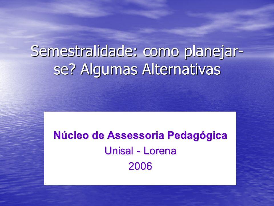 Semestralidade: como planejar- se? Algumas Alternativas Núcleo de Assessoria Pedagógica Unisal - Lorena 2006