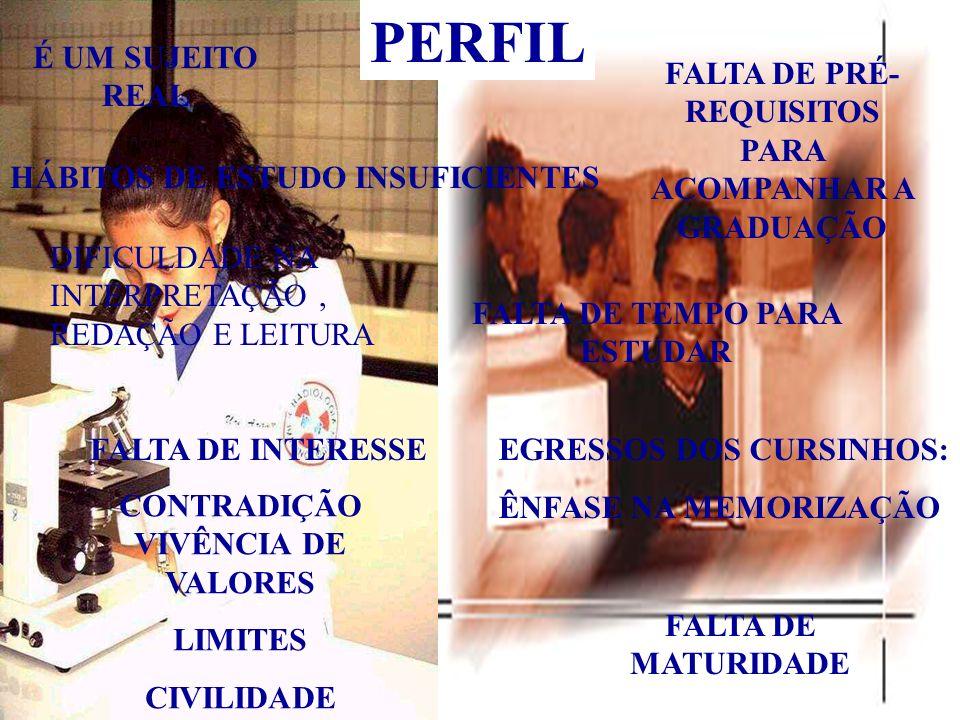 PERFIL HÁBITOS DE ESTUDO INSUFICIENTES DIFICULDADE NA INTERPRETAÇÃO, REDAÇÃO E LEITURA É UM SUJEITO REAL FALTA DE PRÉ- REQUISITOS PARA ACOMPANHAR A GR