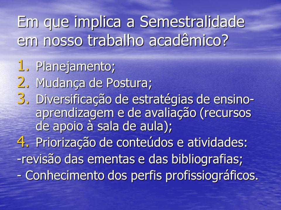 Em que implica a Semestralidade em nosso trabalho acadêmico? 1. Planejamento; 2. Mudança de Postura; 3. Diversificação de estratégias de ensino- apren