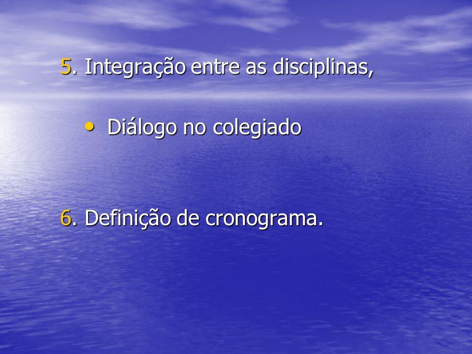 5. Integração entre as disciplinas, Diálogo no colegiado Diálogo no colegiado 6. Definição de cronograma.
